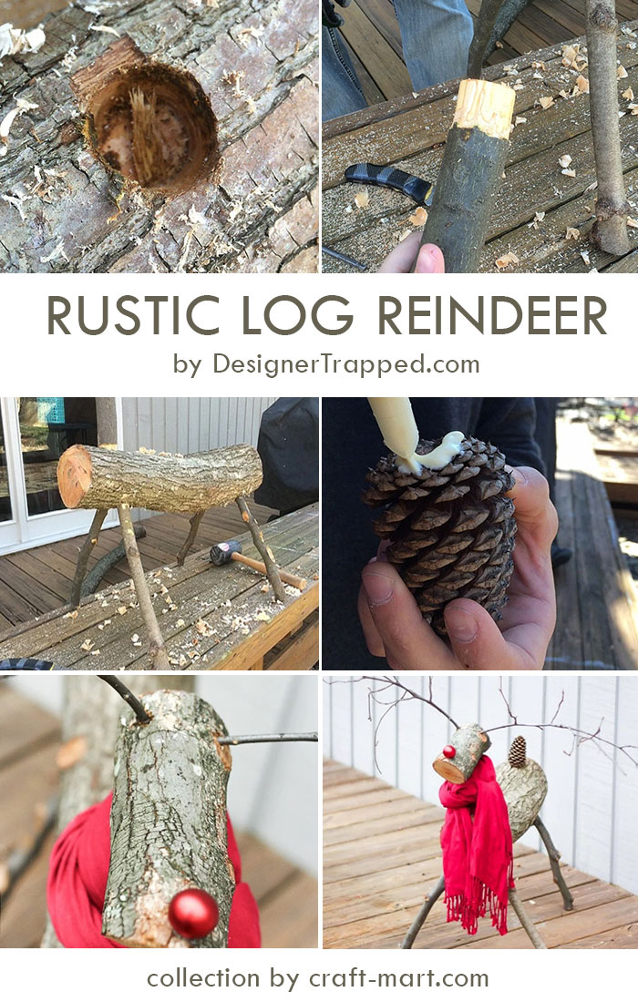 DIY Rustic Log Reindeer