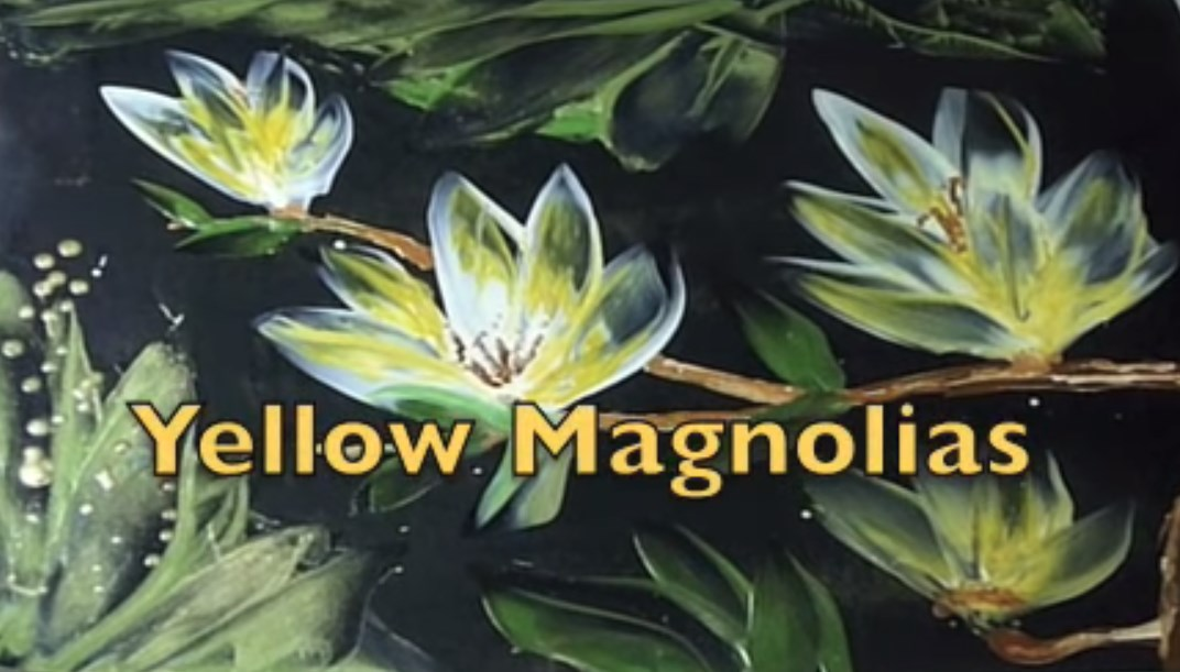 Encaustic: painting of magnolias done by a plain household iron!