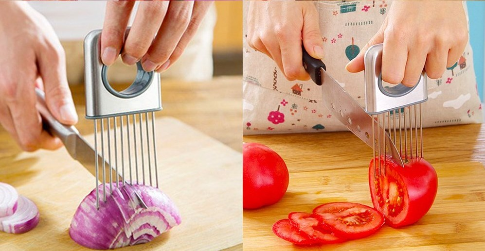 onion holder and slicer