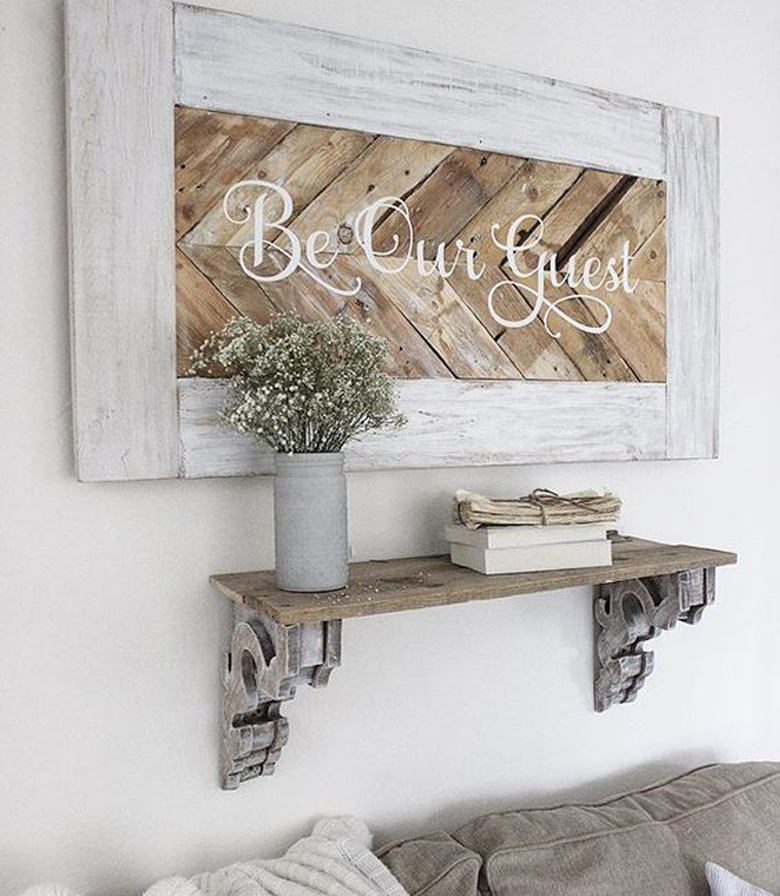 Rustic Wooden Chevron Sign 'Be Our Guest' wall decor craft-mart