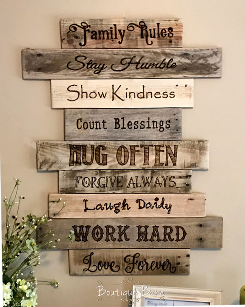 rustic wall decor sign made of reclaimed wood