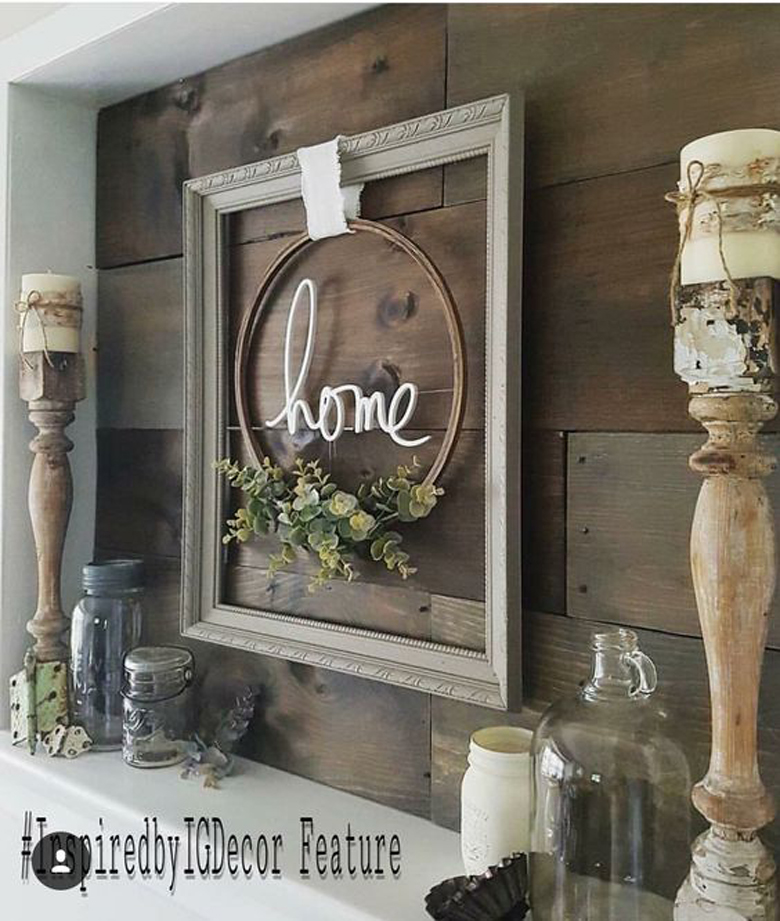 Rustic table legs repurposed as candle holders & 'HOME' wall art