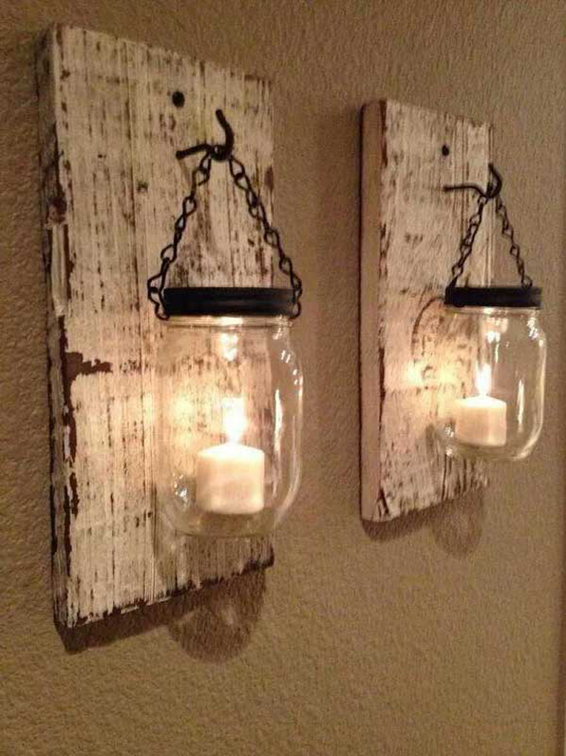 Mason Jars and Reclaimed Wood Light Sconces Rustic Wall Art & Decor Ideas craft-mart