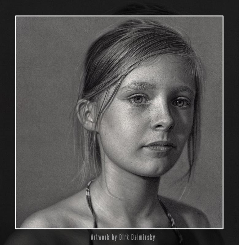 Girl's portrait by German artist Dirk Dzimirsky