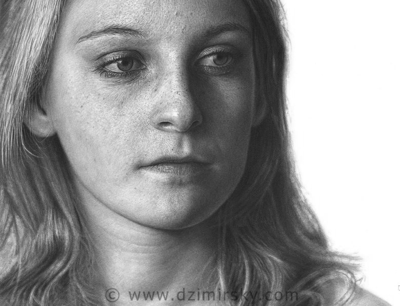 Girl's hyper-realistic portrait by German artist Dirk Dzimirsky