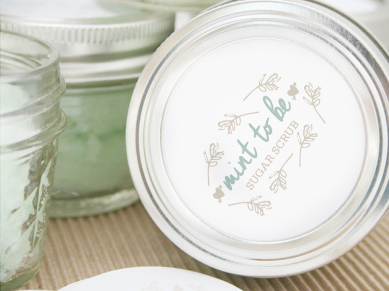 Peppermint Sugar Scrub in Mason Jars With free printable tags
