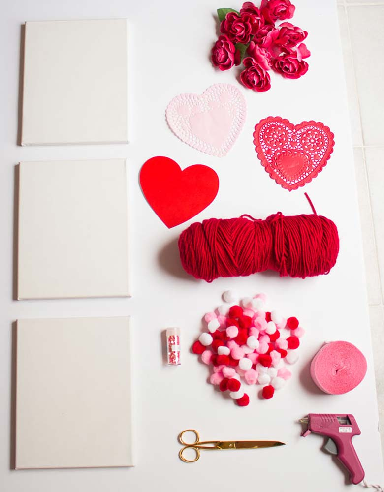 Canvas Hearts Easy Valentine Day Home Décor by craft-mart.com homemade valentine decorations, valentines day decor diy, valentines day ideas, valentine decorations ideas, #valentineDIY, #valentinedecorDIY