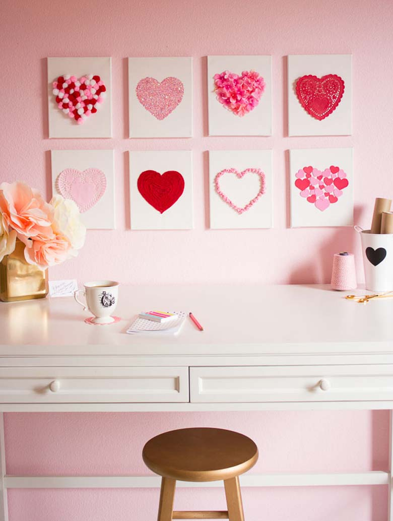 Canvas Hearts Easy Valentine Day Home Décor by craft-mart.com homemade valentine decorations, valentines day decor diy, valentines day ideas, valentine decorations ideas, valentine decorations for office #valentineDIY, #valentinedecorDIY