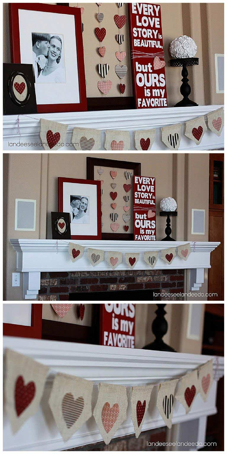 Easy Valentine Day Home Décor by craft-mart.com red white black mantel