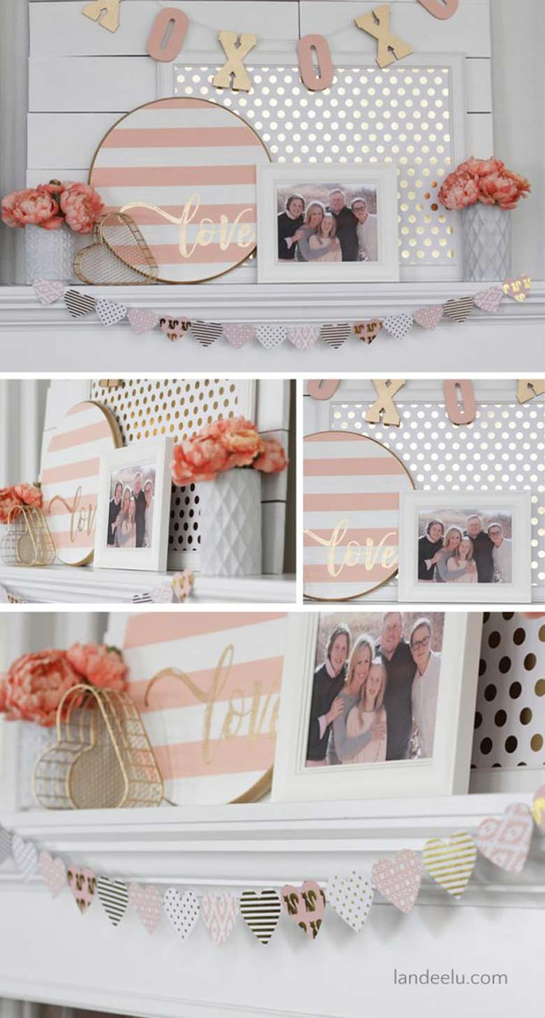 Easy Valentine Day Home Décor by craft-mart.com pink and gold