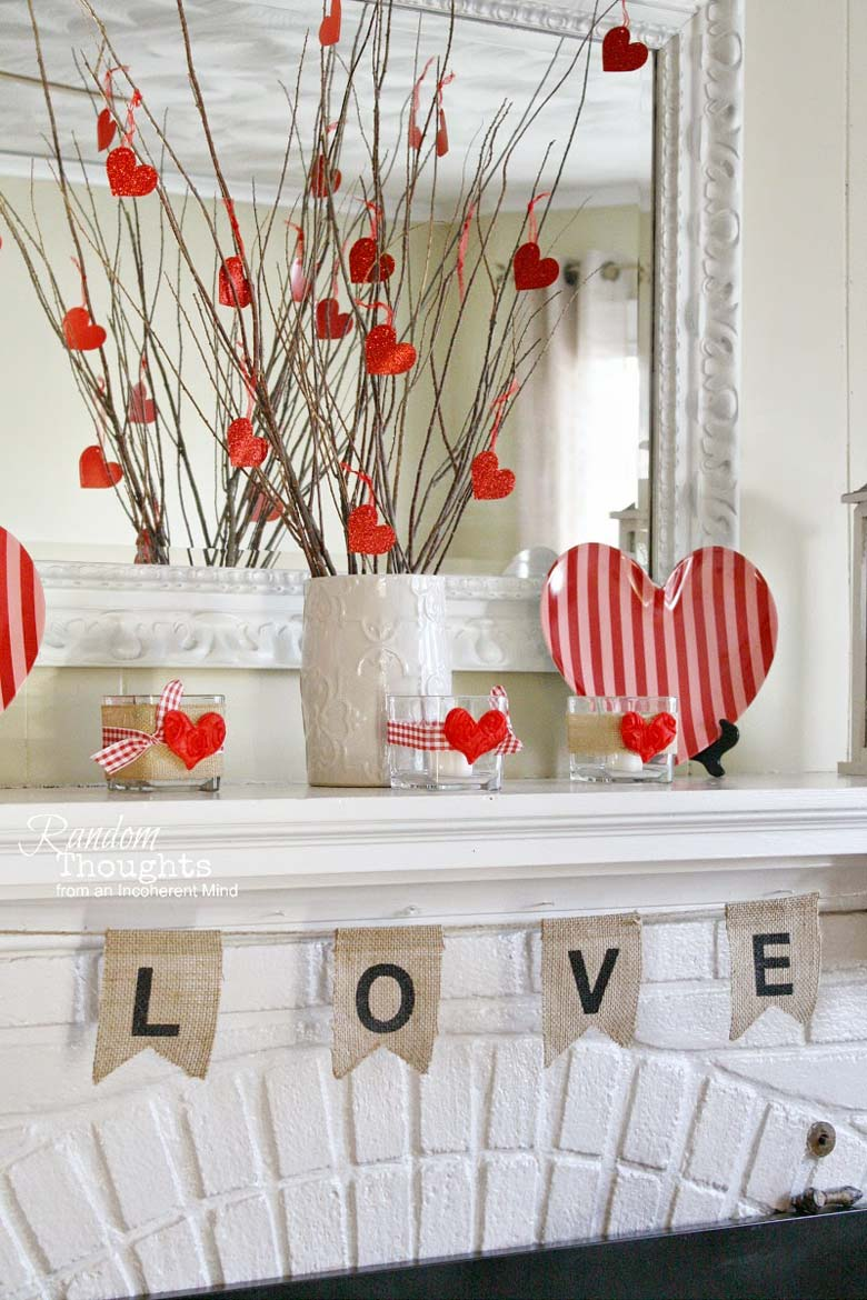 Easy Homemade Valentine Day Décor recommended by craft-mart.com homemade valentine decorations, valentines day decor diy, valentines day ideas, valentine decorations ideas, valentine mantel decor, dollar tree valentine decor #valentineDIY, #valentinedecorDIY