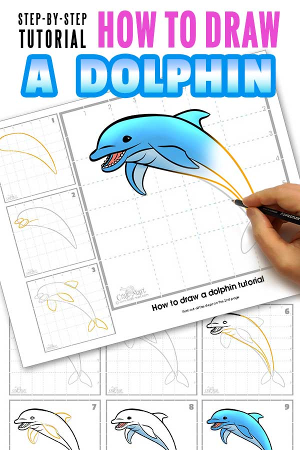 drawing a dolphin printable guide
