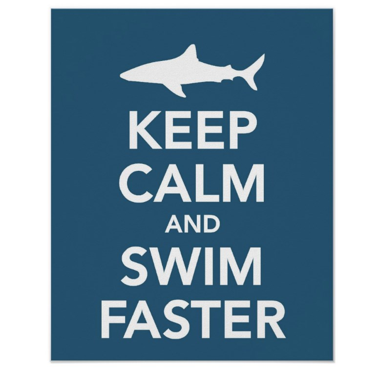 Keep Calm and Swim Faster poster