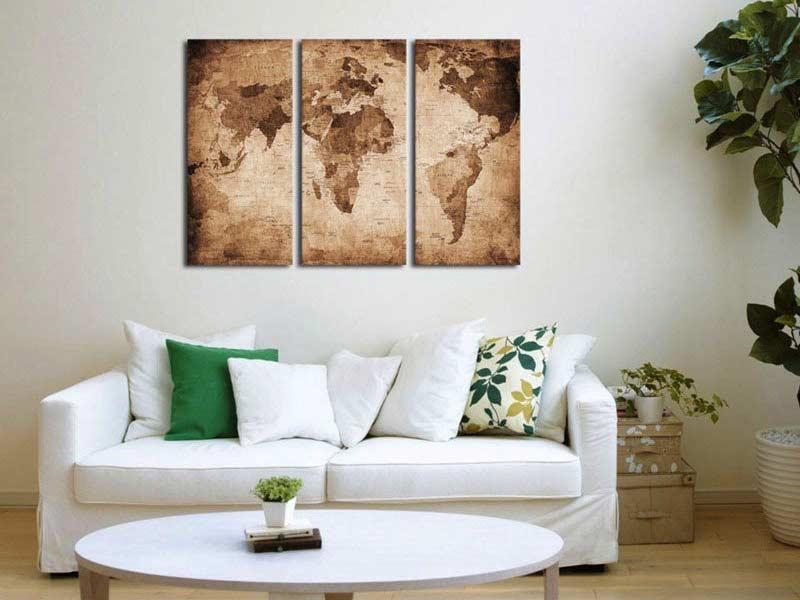 Antique World Map Multi Panel Canvas Wall Art