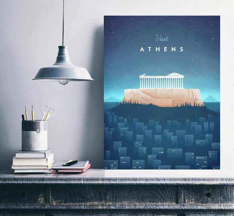 Visit Athens - Vintage Travel Poster by Henry Rivers