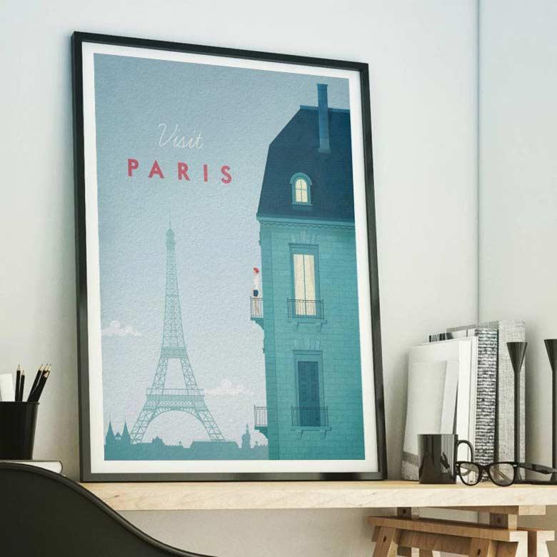Visit Paris Vintage Travel Poster by Henry Rivers