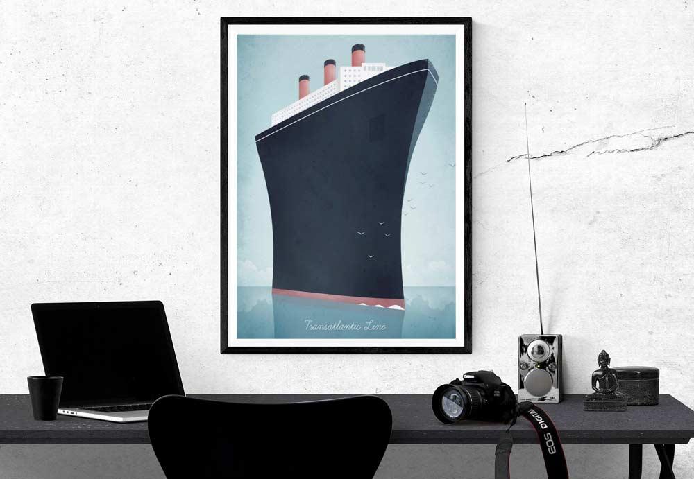 Ocean Liner Vintage Travel Poster designed by Henry Rivers