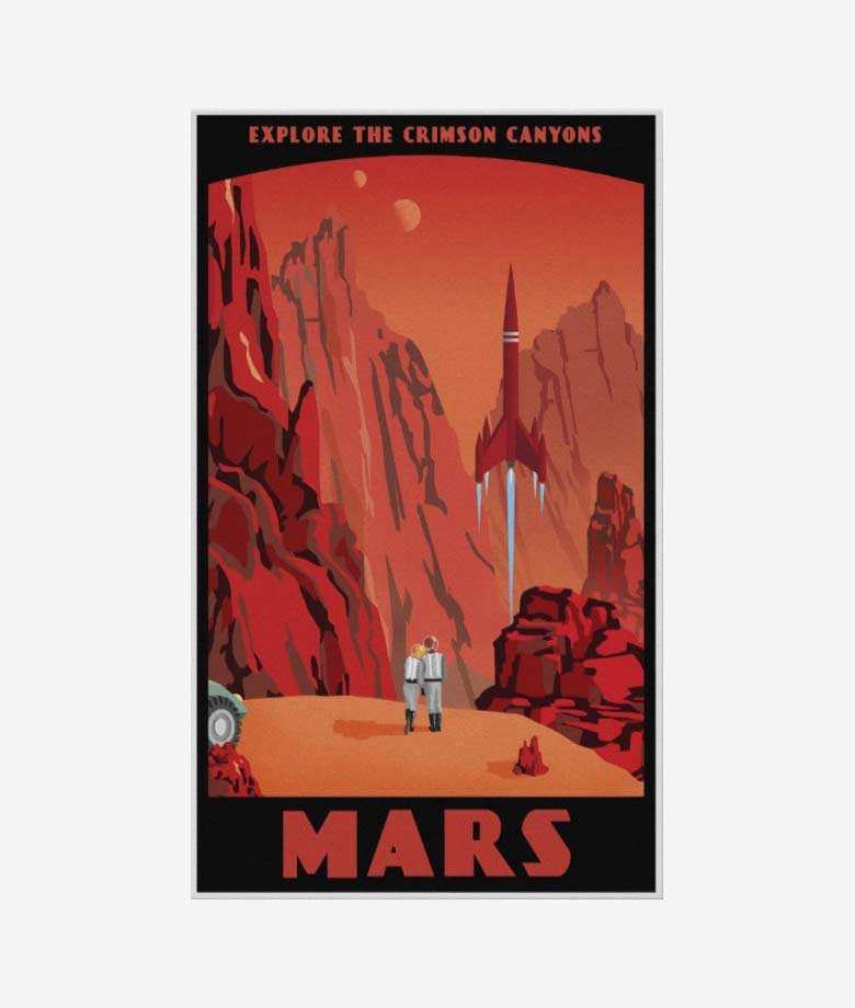 Visit Mars vintage poster
