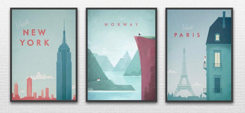 3 Vintage Travel Posters by Henry Rivers: Visit New York, Visit Norway, Visit Paris