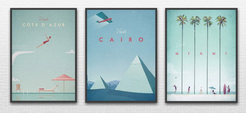 Multi panel canvas prints by Henry Rivers - 3 retro travel posters: visit Cote d'azur, visit Cairo, visit Miami