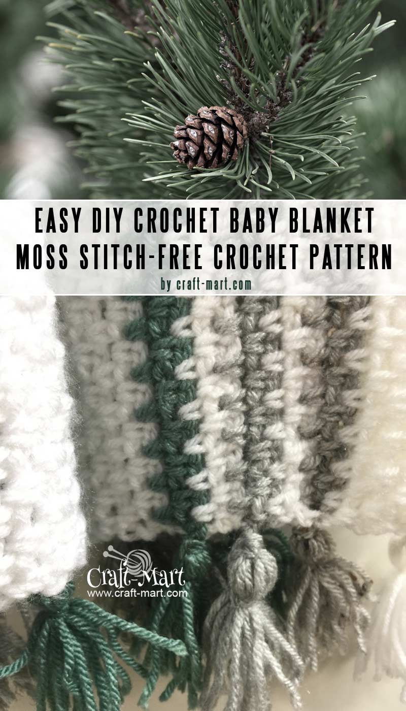 Moss Stitch crochet baby blanket pattern - Easy DIY baby blankets you can crochet in a weekend