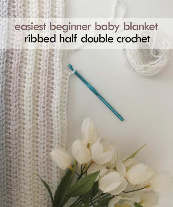half double crochet beginner baby blanket