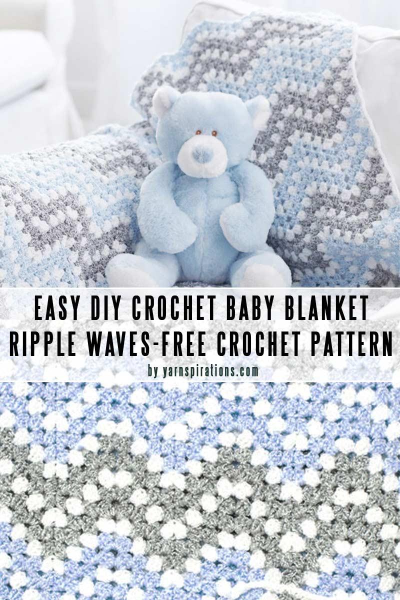 Easy Crochet Baby BlanketPattern #8: Ripple Waves Crochet Blanket