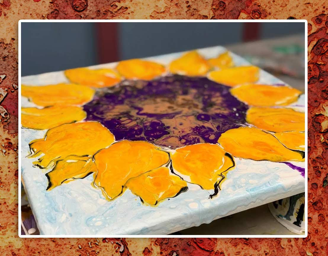 sunflower acrylic pour painting