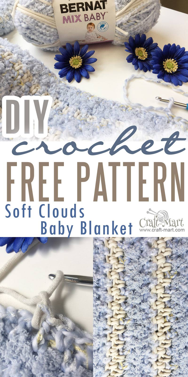 This is the fastest and easiest DIY Crochet Baby Blanket Pattern you will ever find! Crochet it with 3 skeins of Bernat Baby Mix Yarn - it so simple that even beginners will have no problems crocheting this beautiful, soft, and cuddly blanket. Perfect if you are in a hurry to finish a crochet blanket by the deadline. #crochetDIYbabyblanket #easycrochetblanket #diyproject #freecrochetblanketpattern