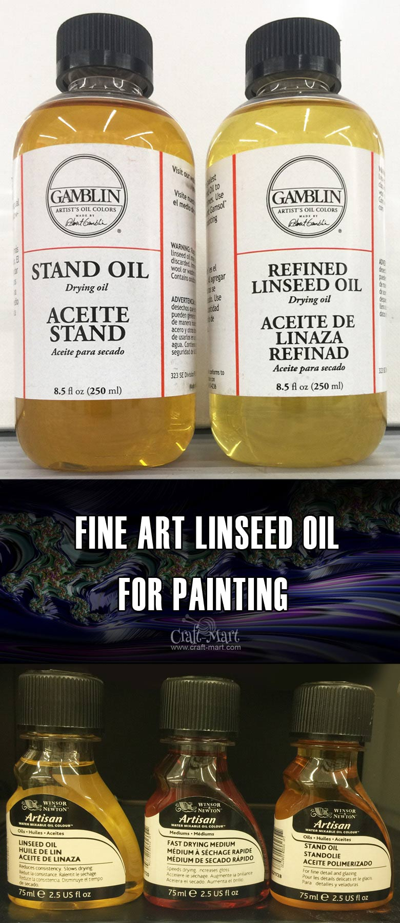 Use linseed oil for fine art painting and acrylic pouring recipes