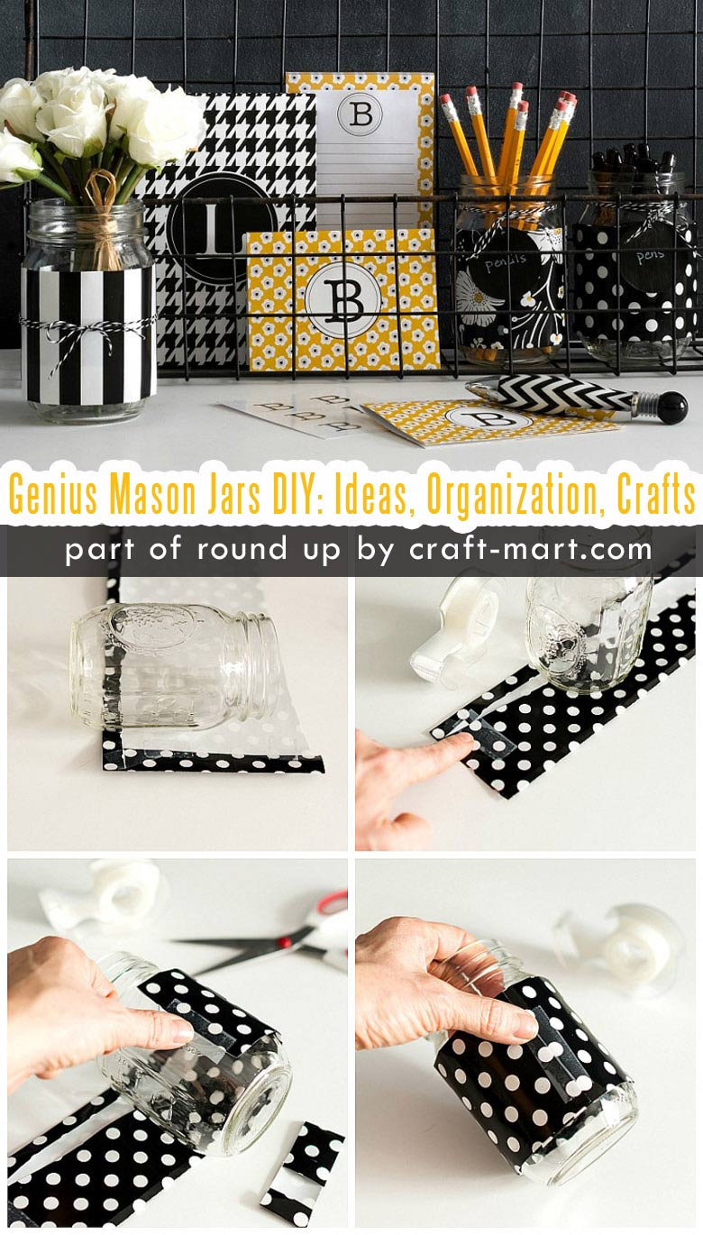 Genius Mason Jars DIY: Ideas, Organization, Crafts collection by craft-mart.com Modern Mason Jar Office Desk Organizer #masonjars #masonjarsdiy #diyprojects #masonjarsdecor #masonjarscrafts #masonjarsorganization