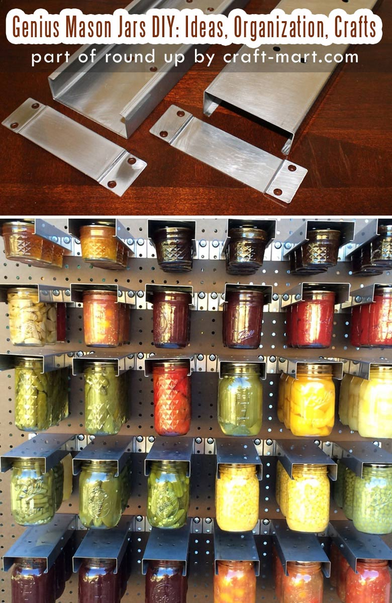 Genius Mason Jars DIY: Ideas, Organization, Crafts collection by craft-mart.com Mason Jar Hanger Pantry Organization Idea #masonjars #masonjarsdiy #diyprojects #masonjarsorganization #masonjarspantry
