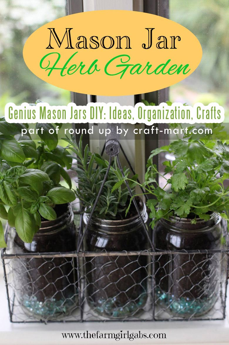 Genius Mason Jars DIY: Ideas, Organization, Crafts collection by craft-mart.com Mason Jar DIY Herb Garden #masonjarsgardening #masonjarsdiy #diyprojects