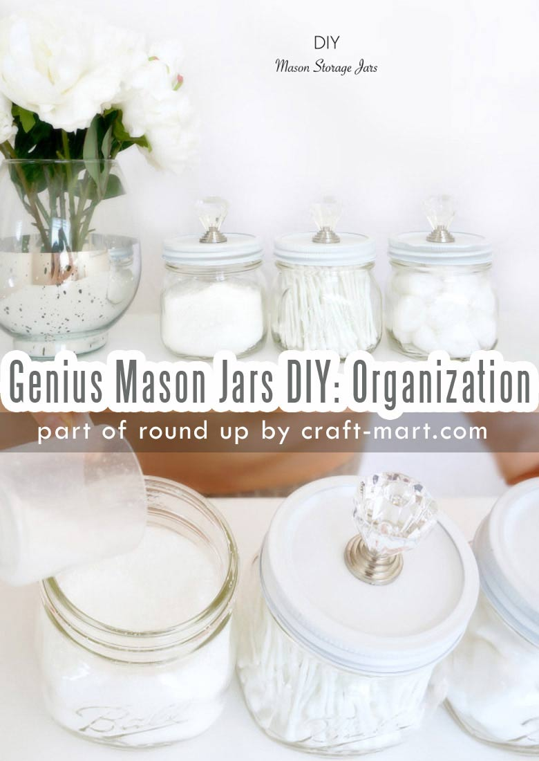 Genius Mason Jars DIY: Ideas, Organization, Crafts collection by craft-mart.com Mason Jar Storage Jars with DIY Crafted Lids #masonjarsdiy #diyprojects #masonjarsorganization #masonjarscrafts #masonjarsdecor