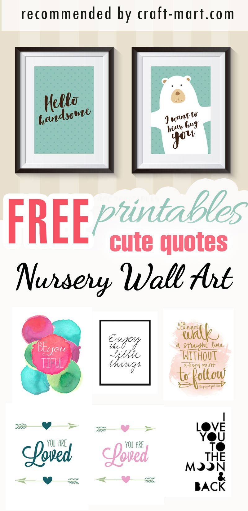 photo relating to Free Printable Art titled 100+ Perfect No cost Nursery Printables and Wall Artwork - Craft-Mart