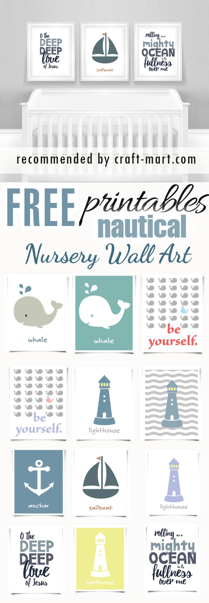 Nautical Nursery Art Prints - free printables #freeprintables #freenurseryprintables #freenurserywallart #cutenurseryprints #nauticalnurseryprintables #freenurseryprints
