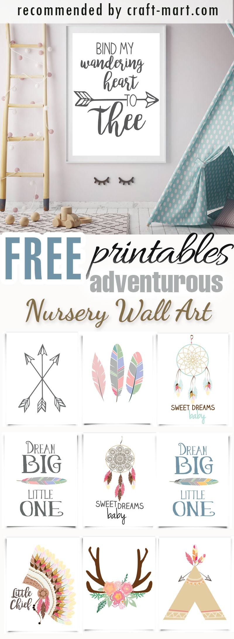 ADVENTURE AWAITS - FREE Nursery Printables and wall decor #freeprintables #freenurseryprintables #freenurserywallart #cutenurseryprints #tribalnurseryprintables #adventureawaitsnurseryprintables #dreamcatchernurseryprintables #freenurseryprints