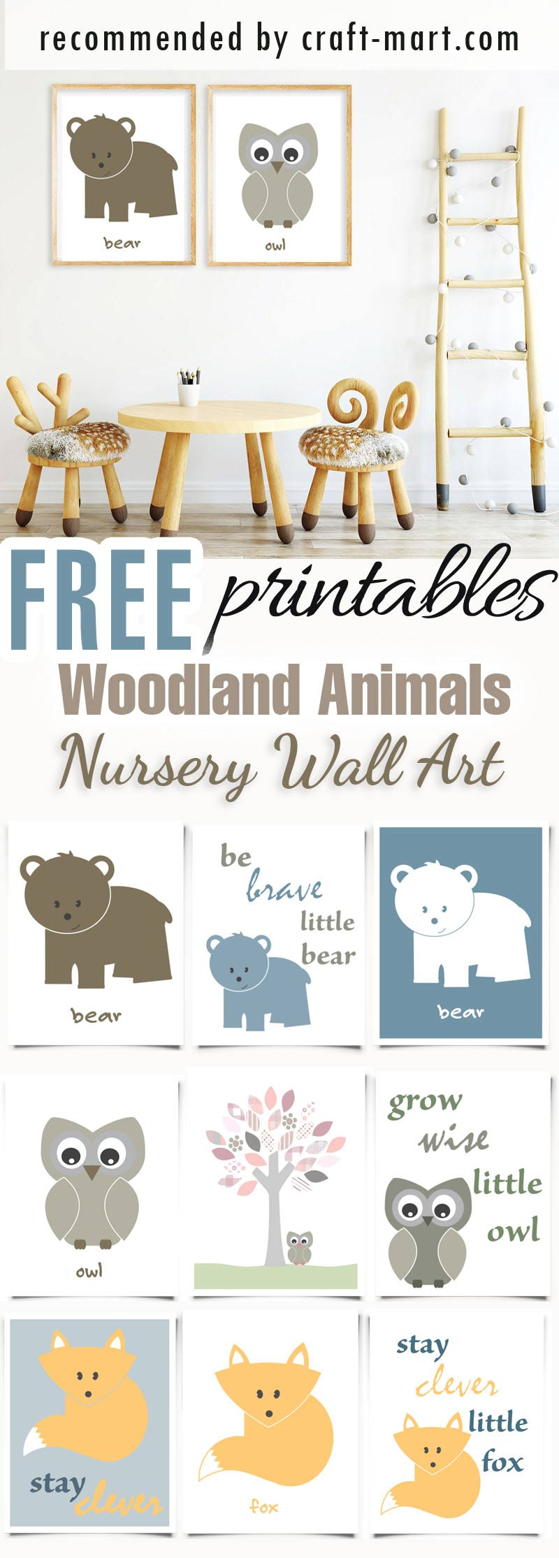 Woodlands Nursery Theme Animals - free printables #freeprintables #freenurseryprintables #freenurserywallart #cutenurseryprints #woodlandanilsnurseryprintables #bearnurseryprintables #owlnurseryprintables #foxnurseryprintables #freenurseryprints