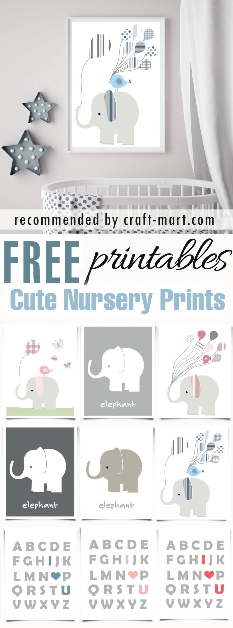 Cute Nursery Prints - Elephants and 'I Love You' ABC (11 free printables) #freeprintables #freenurseryprintables #freenurserywallart #cutenurseryprints #animalsnurseryprintables #elephantnurseryprintables #freenurseryprints #ILoveYouNurseryPrintables