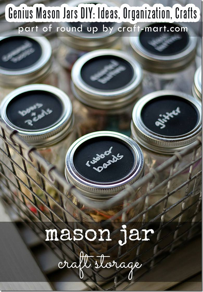 Genius Mason Jars DIY: Ideas, Organization, Crafts collection by craft-mart.com Mason Jar Craft Storage DIY Organization Idea #masonjars #masonjarsdiy #diyprojects #masonjarsdecor #masonjarscrafts #masonjarsorganization
