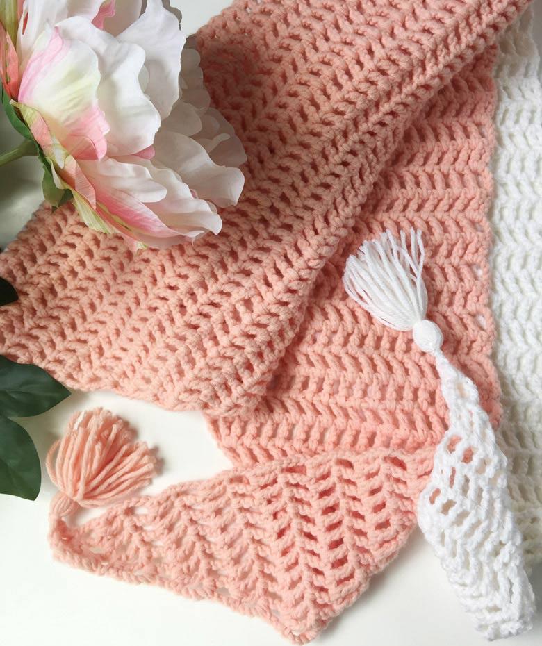Capri Summer Crochet Scarf by craft-mart.com - lightweight crochet scarf free pattern; modern crochet scarf pattern; #diycrochetshawl #easycrochet #trianglescarfpattern #freecrochetscarfpattern