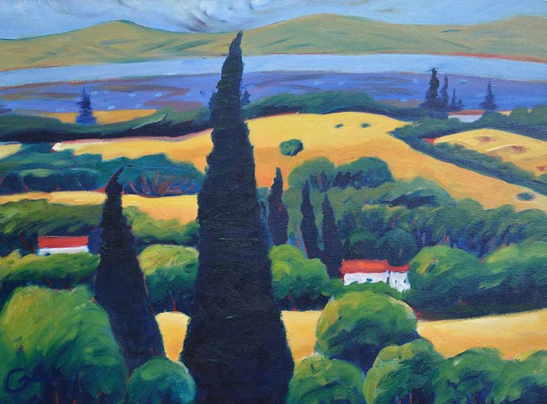 Painting Tuscan pines with picturesque rolling hills is always a good choice for both beginners and  experienced artists