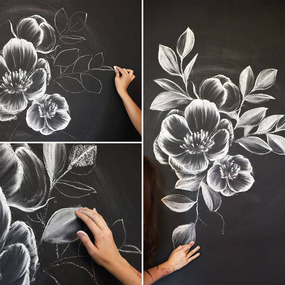 How to Create a Gorgeous Chalk Mural with beautiful flowers. Learn how to draw flowers like roses of lilies and turn them into really beautiful wall art. practice flower drawings easy on chalkboard with step-by-step tutorials and easy to follow the instructions and get amazing results! Drawing is relaxing and fun for all ages! #drawings #howtodraw #flowers #wallart #walldecor