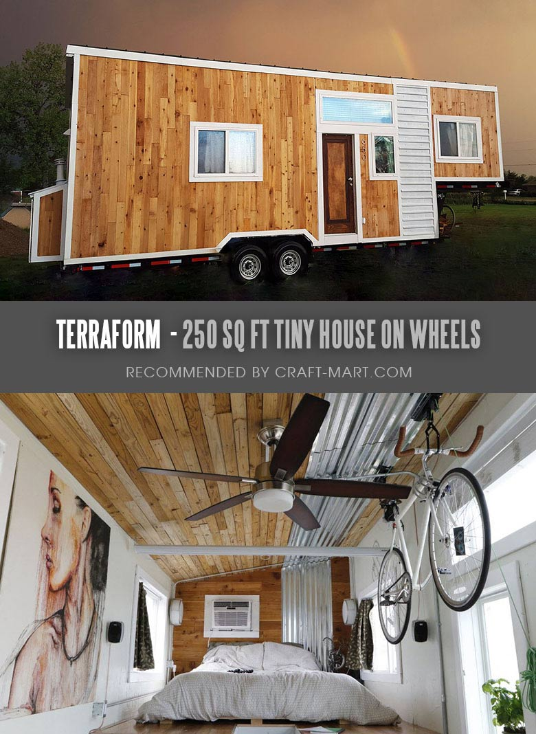 Tiny House Trailer - Terraform One - 250 sq ft Modern Tiny Home - One of the 17 Best Custom Tiny House Trailers and Kits with Plans, the most affordable tiny houses on wheels. You can order a shell to be built or build it yourself using this mobile tiny house plans saving thousands of dollars. #tinyhouse #tinyhouseplans #minimalism #diy