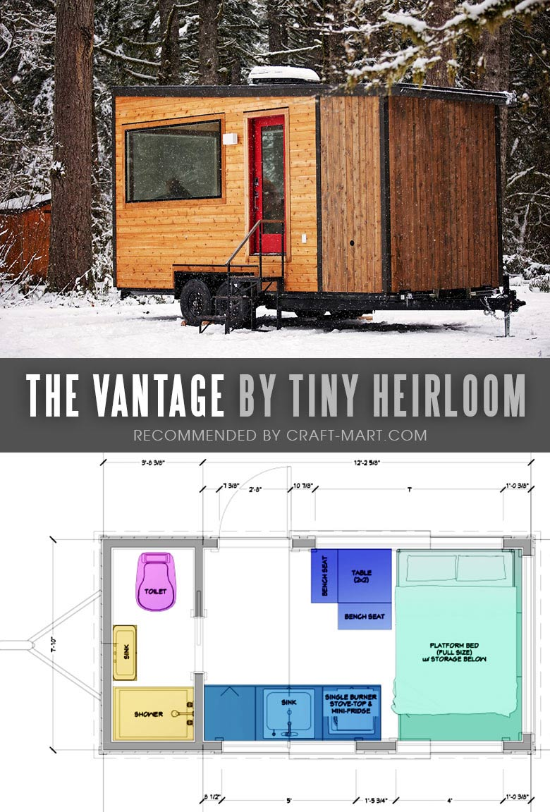 Tiny House Trailer - The Vantage by Tiny Heirloom - One of the 17 Best Custom Tiny House Trailers and Kits with Plans, the most affordable tiny houses on wheels. You can order a shell to be built or build it yourself using this mobile tiny house plans saving thousands of dollars. #tinyhouse #tinyhouseplans #minimalism #diy