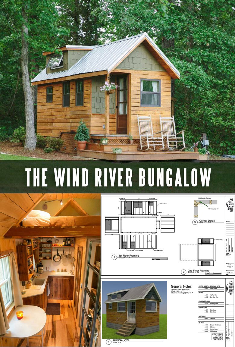Tiny House Trailer - Wind River Bungalow - One of the 17 Best Custom Tiny House Trailers and Kits with Plans, the most affordable tiny houses on wheels. You can order a shell to be built or build it yourself using this mobile tiny house plans saving thousands of dollars. #tinyhouse #tinyhouseplans #minimalism #diy