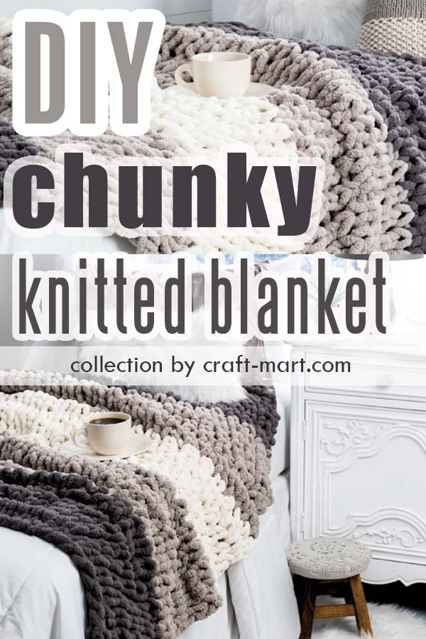 This cozy Under Cover project by Hobby Lobby looks as inviting as it feels! If heaven for you means soft yarn, a cup of coffee, and a snow day (when staying home is an excuse to knit), then grab this soft chenille-style bulky yarn to create a hygge-style soft blanket. While giving you a pure luxury feel, this is an easy DIY chunky knit blanket for your modern farmhouse decor. #armknitting #chunkyblanket #cheapchunkyblanket #diychunkyblanket #chunkymerinowoolyarn #armknitting #diygiantknitblanket #chunkymerinowoolyarn #armknitting #chunkyknitthrow #flatknitting #chunkyyarn