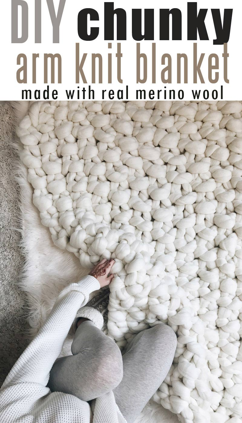 How-to-Make-Giant-Merino-Wool-Yarn-Blanket #chunkymerinowoolyarn #armknitting #diychunkyblanket #chunkyblanket