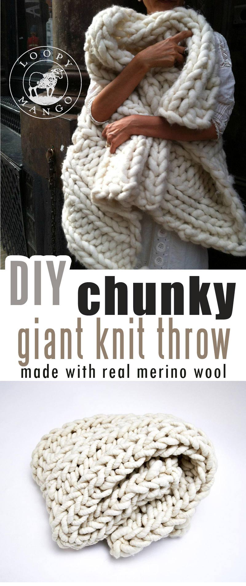 Chunky knit blanket yarn for Chunky Throw.  Knitted with Merino Wool Yarn #chunkymerinowoolyarn #armknitting #diychunkyblanket #chunkyblanket #chunkyknitthrow