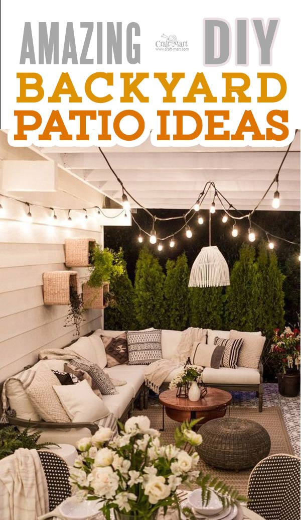 Backyard patio lighting design ideas. The best backyard patio designs with outdoor ceiling lights that may help with your own patio ideas or outdoor landscape lighting. Perfect for small backyard patios. #outdoorspace #outdoordecor #outdoorspaces #patiodecor #patio